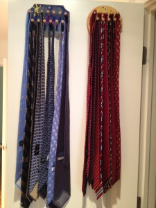 Hang ties on hooks by color