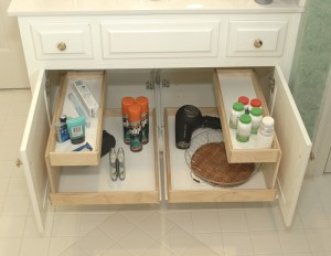 Pull out drawers in a bathroom