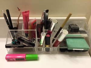 """Cosmetics. Guys get a day """"off"""" today as we girls tackle our stores of make-up."""