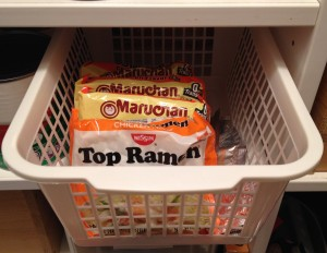 Storing items in a pantry