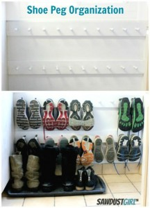 Hang shoes from a pegboard