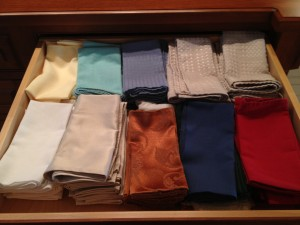 Table linens. It's time to organize the table linens.