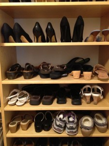 Shoe Storage. sort through and organize your shoes.