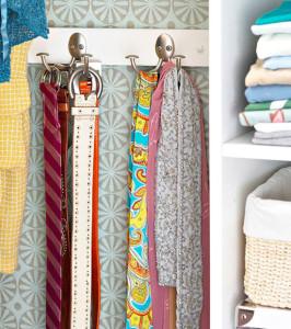 belts and scarves on hooks