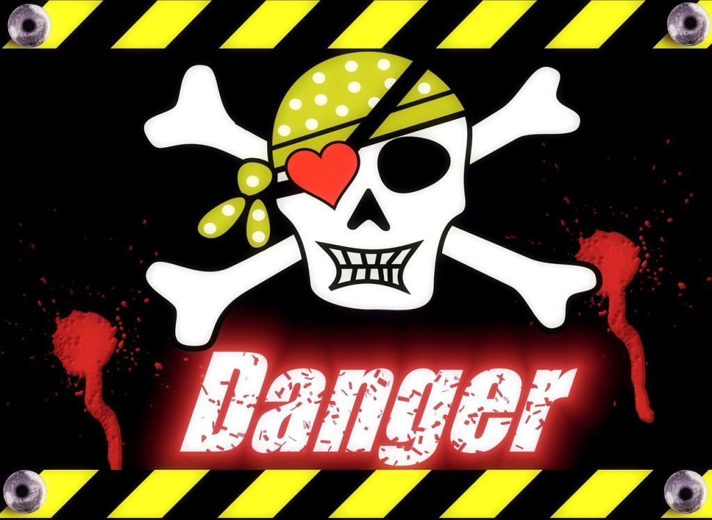 Skull and crossbones danger sign