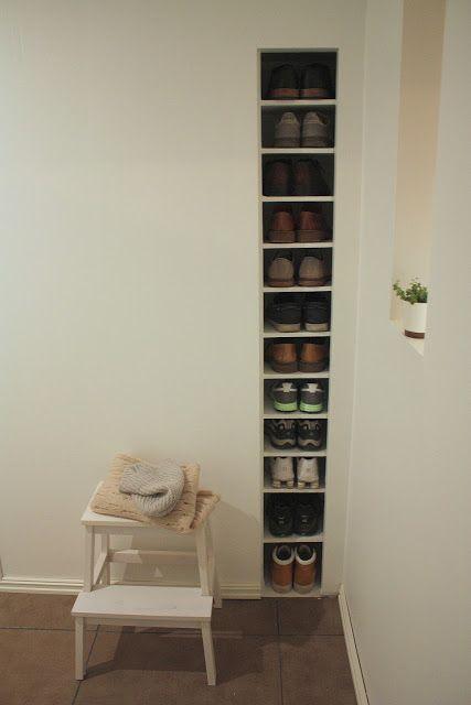 shoe storage between studs