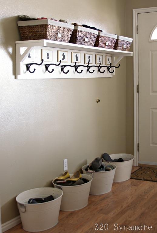 shelf and bins on the floor