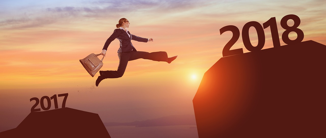woman jumping ahead one year