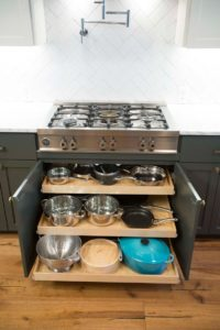 kitchen cabinet with glide out shelves