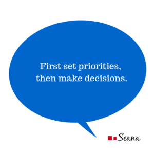 First set priorities, then make decisions.