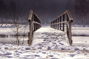 Wooden railing on a bridge