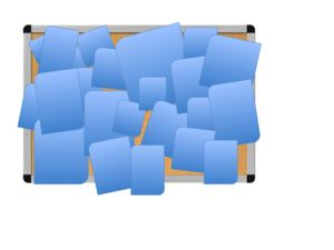 Crowded bulletin board