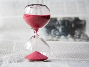 Hourglass with time passing