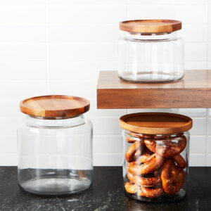 "Glass jars with wooden lids, aka ""Montana jars"""