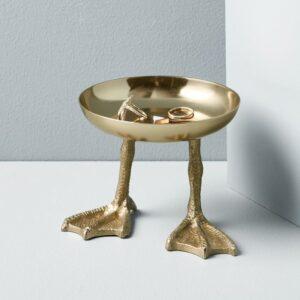 brass trinket tray with brass feet