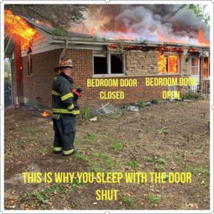 Close your bedroom door at night.