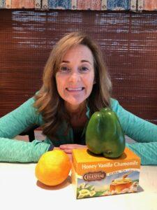 Seana with healthy food choices.